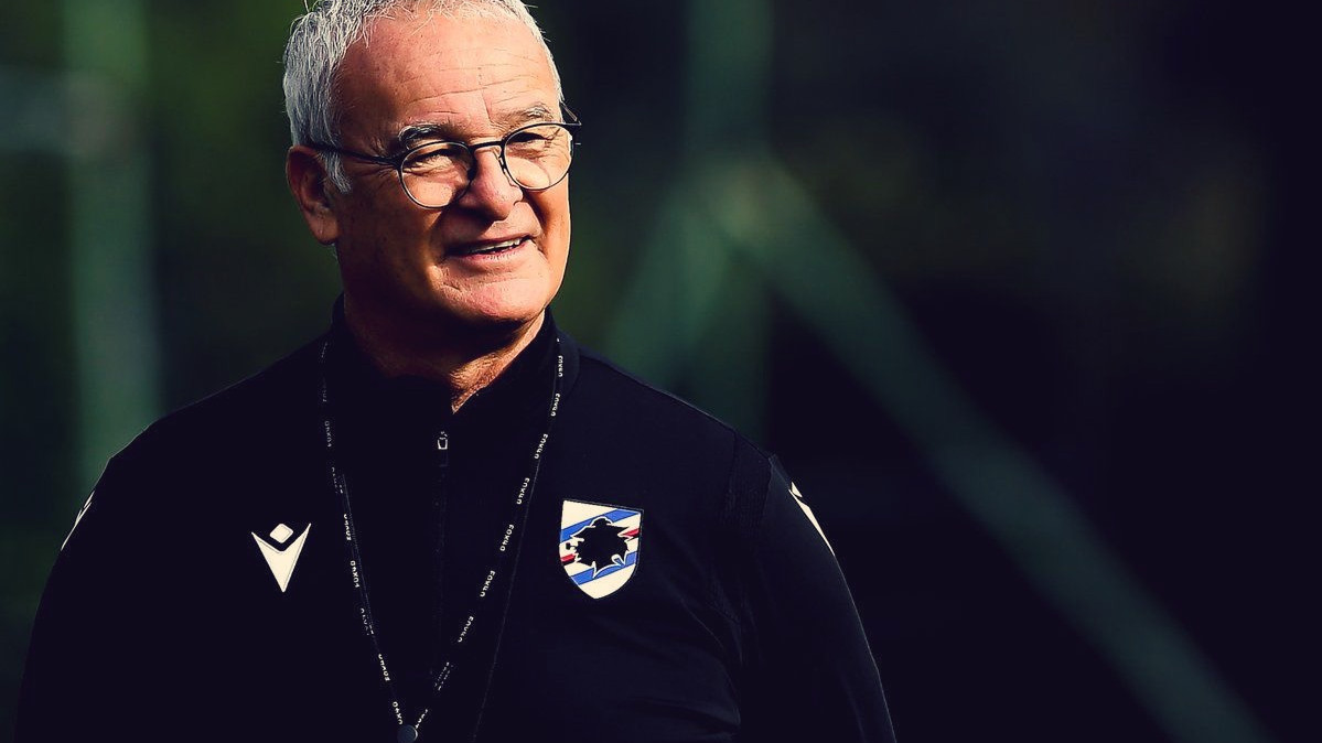 Claudio Ranieri alla Sampdoria sorridente